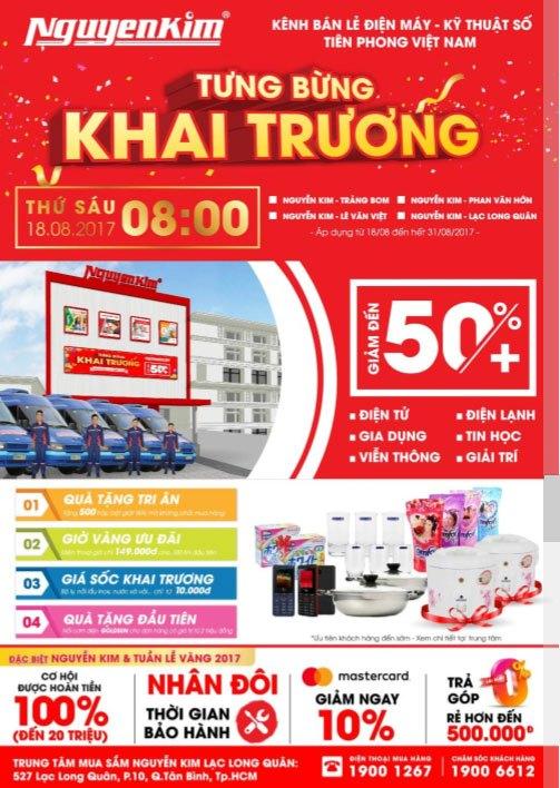 Nhiều ưu đãi hấp dẫn đang chờ đợi bạn tại sự kiện khai trương 3 trung tâm mua sắm Nguyễn Kim trong tháng 8 này