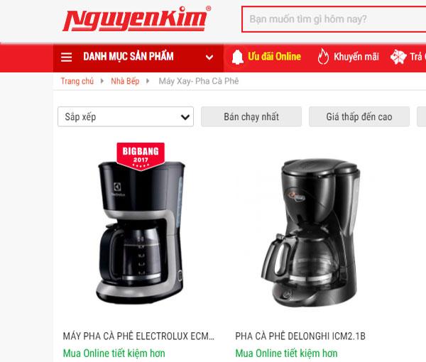 Một số mẫu máy pha cà phê giá bình dân đang bán tại Nguyễn Kim