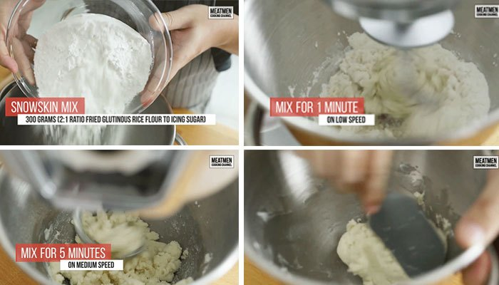 Dùng máy đánh trứng trộn phần bột để làm vỏ bánh dẻo sầu riêng