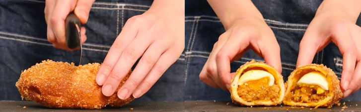 Tèn ten ten, món bánh cà ri độc đáo ra lò rồi đây! Bạn dùng dao cắt đôi bánh để ăn hoặc trực tiếp cầm trên tay ăn luôn đều được.