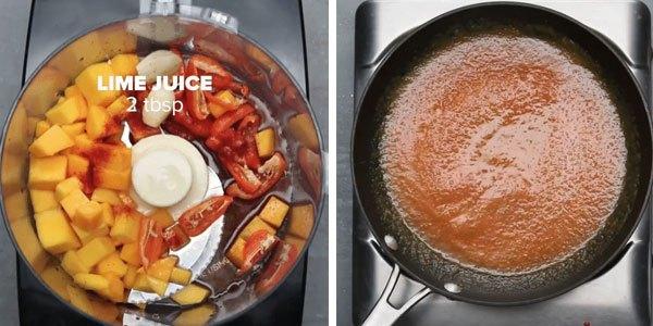 Trong thời gian chờ đợi gà trong lò nướng chính, bạn làm phần nước sốt cho món gà cay sốt xoài