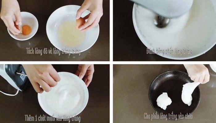 Làm trứng mây với máy đánh trứng