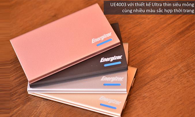Sạc dự phòng Energizer UE4003GY 4.000MAH thiết kế mỏng nhẹ