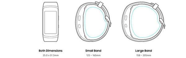 Kích thước chi tiết của Gear Fit2 Pro và các tùy chọn dây đeo