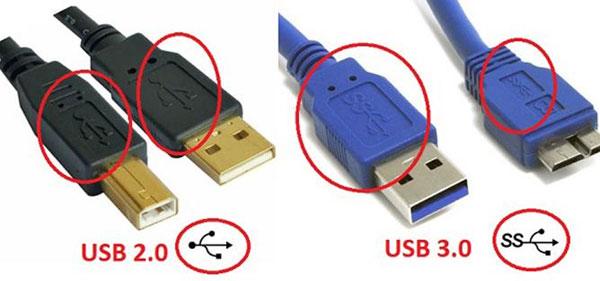 USB 3.0 nhiều màu sắc hơn và có biểu chữ SS (nghĩa là Super Speed) trước biểu tượng USB