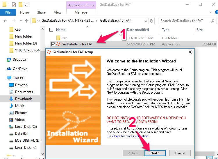 Bạn giải nén tập tin vừa tải về sẽ thấy được 2 thư mụcGetdataback for NTFSvàGetdataback for FAT. Trong đó,Getdataback for FAT sử dụng cho thẻ nhớ, USB có định dạngFAT/FAT32 (hầu hết thẻ nhớ, USB sử dụng định dạng này); còn Getdataback for NTFS dùng cho định dạngNTFS. Nếu không có kinh nghiệm, bạn hãy cài đặt cả 2 phiên bản.