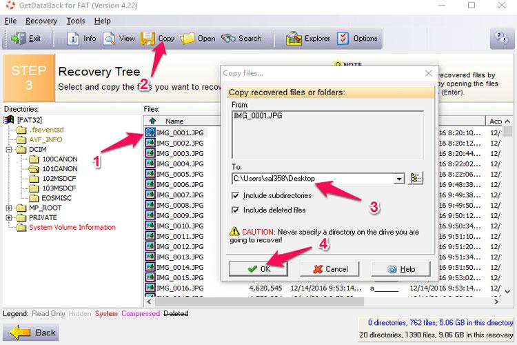 Cuối cùng, nếu muốn khôi phục dữ liệu nào, bạn chọn tập tin đó, nhấn vào biểu tượng copy trên thanh công cụ để sao chép ra bộ nhớ ngoài.