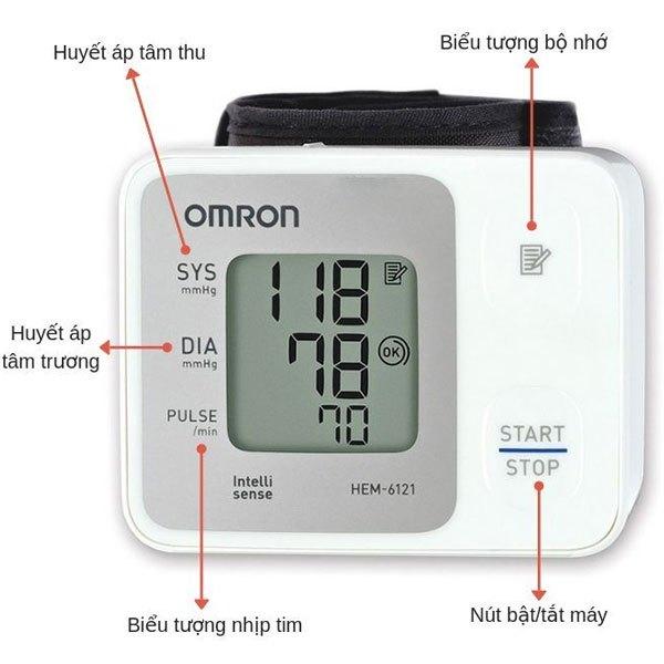 Màn hình LCD lớn của máy đo huyết áp Omron sẽ giúp dễ dàng nhìn kết quả hơn