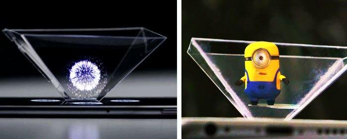 Các hình ảnh từ điện thoại hiện lên máy chiếu 3D trông thật ảo diệu