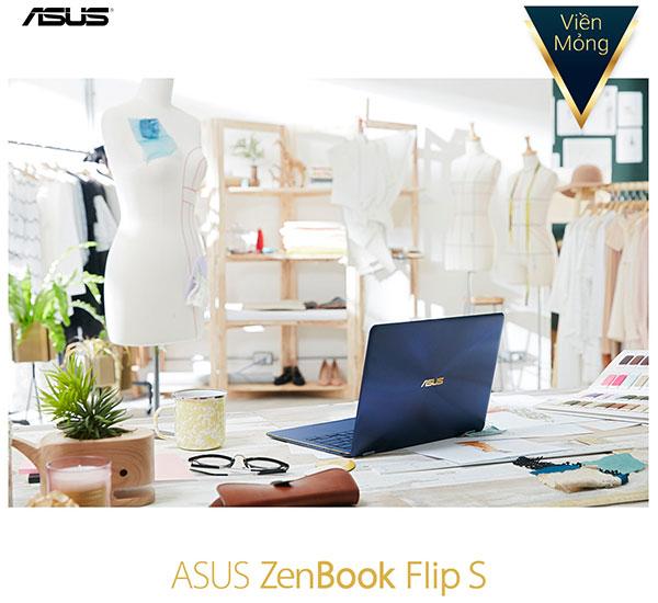 Đường viền siêu mỏng tạo nên những đường nét thanh thoát cho tổng thể mẫu laptop ASUS ZenBook Flip S