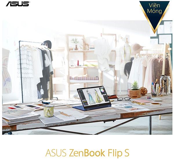 Màn hình laptop ASUS ZenBook Flip S dễ dàng xoay 360 độ
