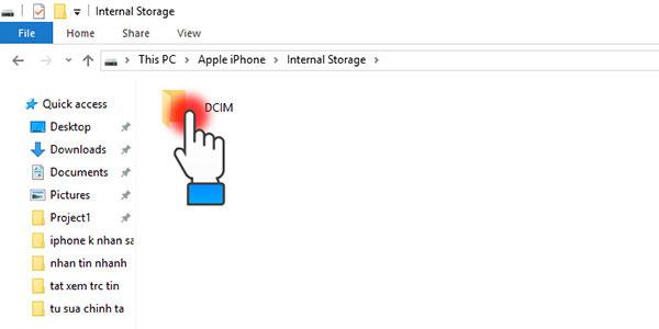 Trên máy tính chọn tiếp DCIM