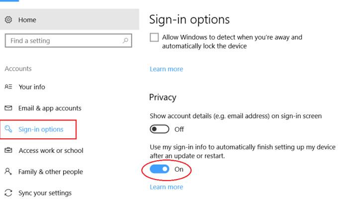 Chuyển từ On sang Off là bạn đã tắt được chức năng mở lại các tab của Windows 10