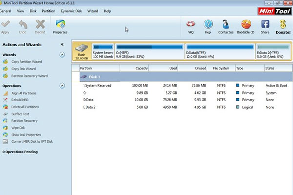 Khi đó, tại giao diện của chương trình, ổ cứng sẽ hiện lên với 2 tình trạng: ổ đĩa D (Data) có dung lượng là 10GB và ổ đĩa E (Data 2) có dung lượng 5GB. Tìm hiể cách lấy bớt 5GB ở ổ đĩa D sang ổ đĩa E ngay bây giờ.