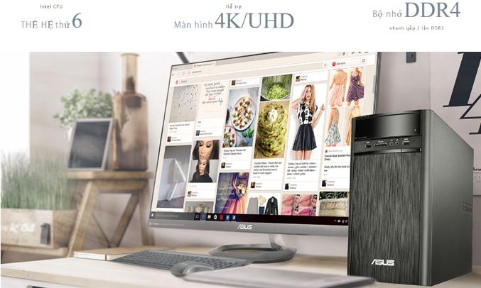 Máy tính để bàn AsusK31CD-K-VN012D hỗ trợ màn hình 4K/UHD