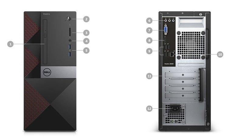 Máy tính để bàn Dell Vostro 3668 (Core i7) hỗ trợ nhiều cổng kết nối