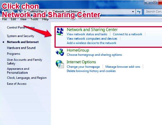 Bấm chuột trái chọn Network and Sharing Center để kết nối Bluetooth trên laptop