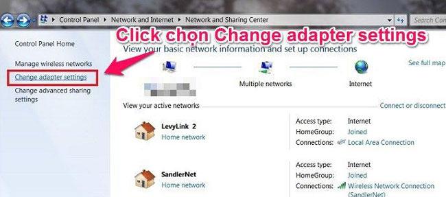 Tiếp đến bạn chọn mụcChange adapter settings để kết nối Bluetooth trên laptop
