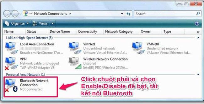 Để kết nối Bluetooth trên laptop, bạn bấm chuột phải vàoBluetooth Network Connection và chọn Enable