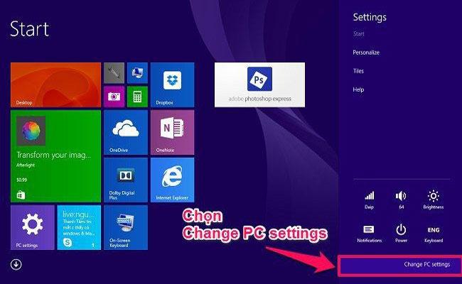 Trong phần Settings hãy bấm chọn Change PC settings để kết nối Bluetooth trên laptop