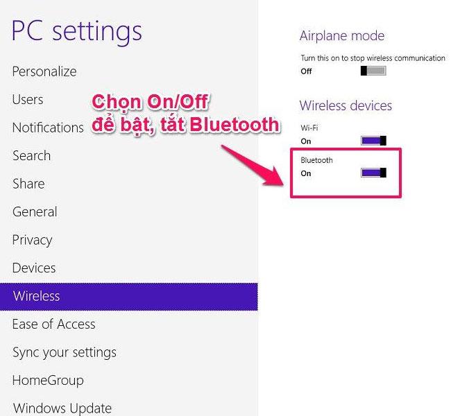 Bấm chọn On/Off khi muốn kết nối Bluetooth trên laptop
