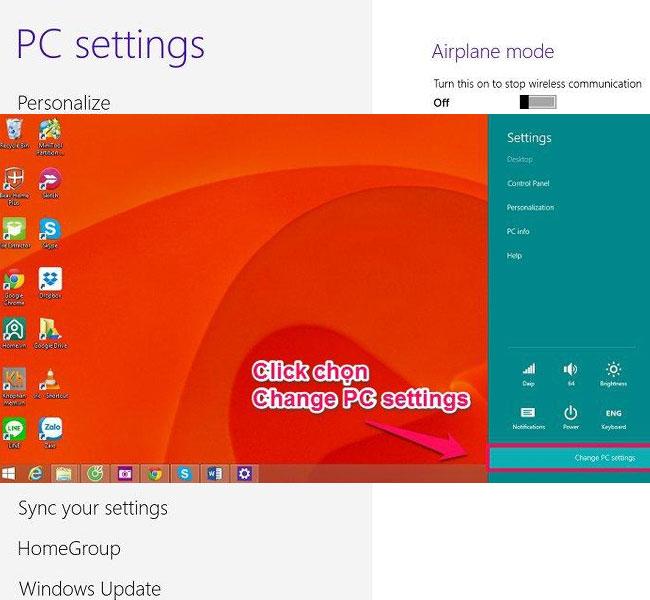 Trên màn hình laptop, bạn chọn tiếp Change PC settings để vào mục kết nối Bluetooth