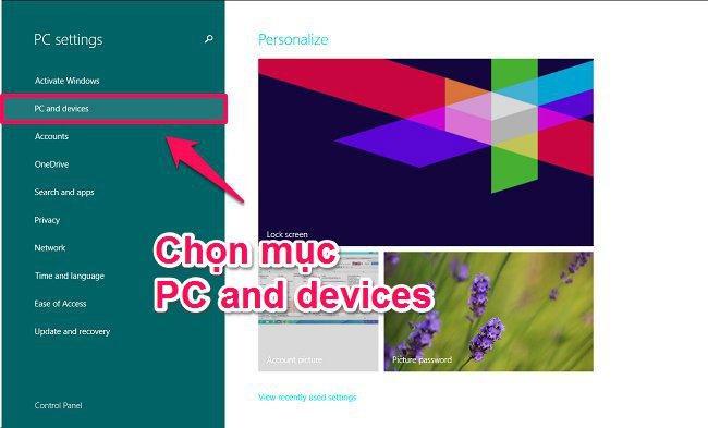 Bấm chọn PC and devices để kết nối Bluetooth trên laptop