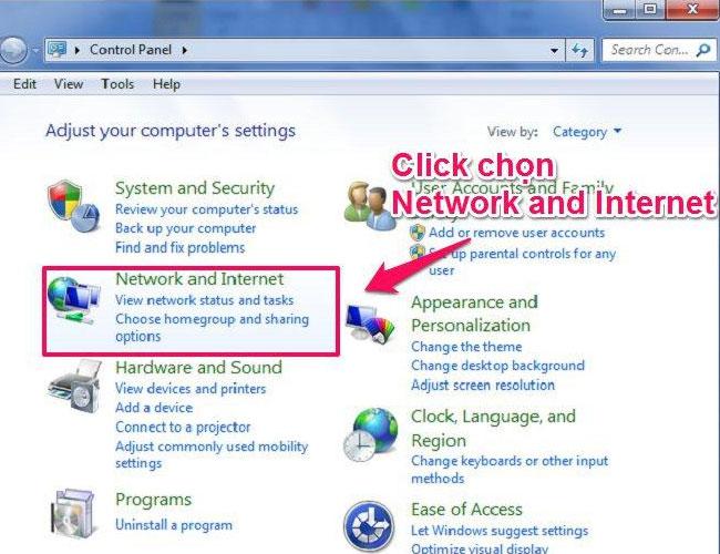 Trên màn hình laptop, bạn chọn Network and Internet để kết nối Bluetooth