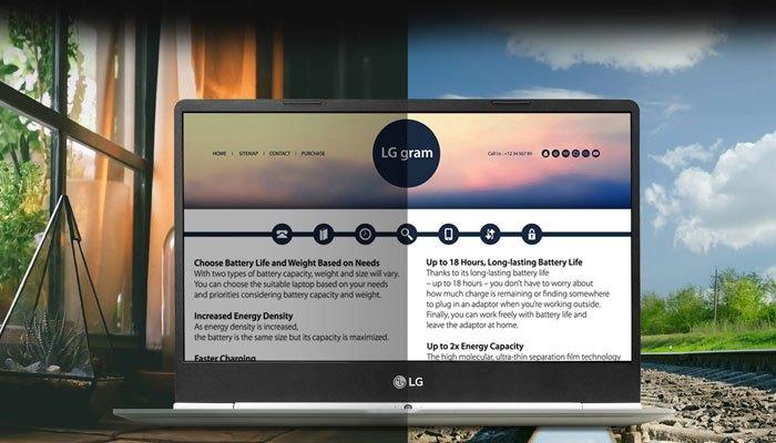 Độ tương phản laptop LG Gram 15 inch Z970-G sẽ được tăng cường giúp bạn nhìn rõ khi dùng ngoài trời