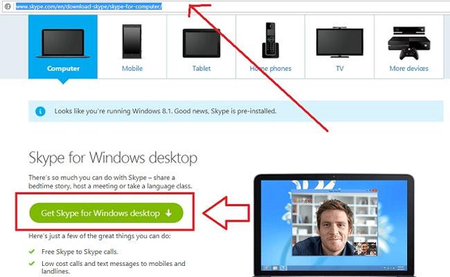 Bạn truy cập đường link này, nhấn chọnGet Skype for Windows desktop để tải Skype về máy tính.
