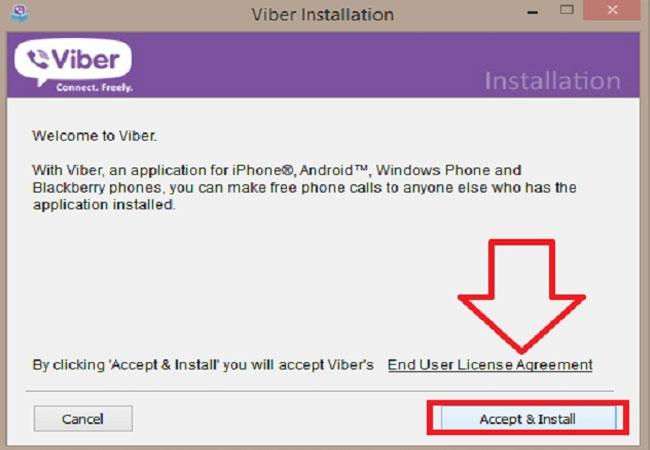 Một file mang tênViberSetup.exe sẽ được tải về máy tính. Bạn nhấn vào file này rồi chọnAccept & Install khi bảng cài đặt Viber hiện ra.