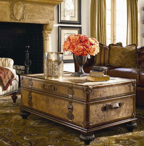 Một mẫu vali cũ ăn nhập hoàn hảo với phong cách nội thất của căn phòng khách