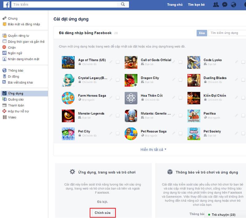 Bước 3: Chọn Chỉnh sửa (Edit) ngay mục Ứng dụng, trang web và trò chơi (Apps, Website and Games).