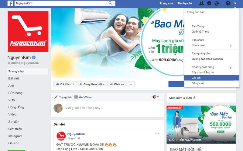 Bước 1: Trên biểu tượng Menu tùy chọn ở góc phải của Facebook, bạn chọn Cài đặt (Settings).