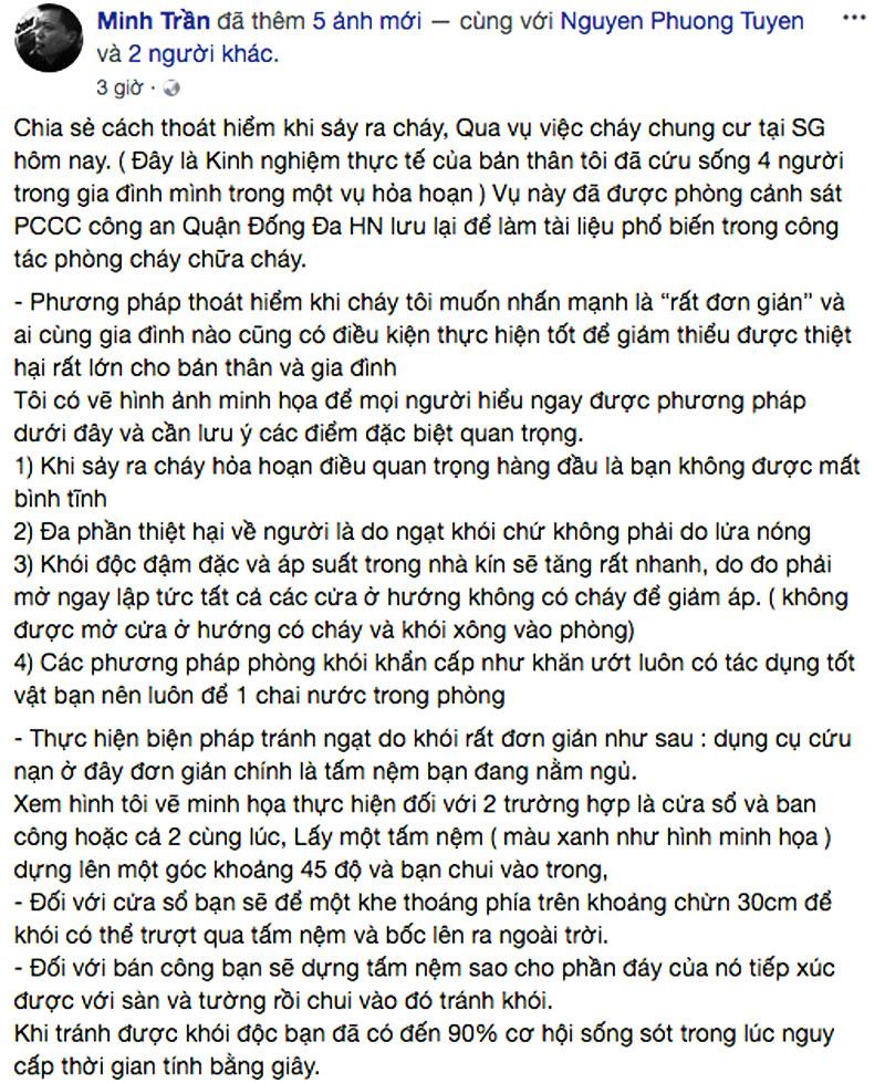 Chia sẻ kinh nghiệm thực tế của anh Minh Trần (ảnh chụp FB nhân vật)