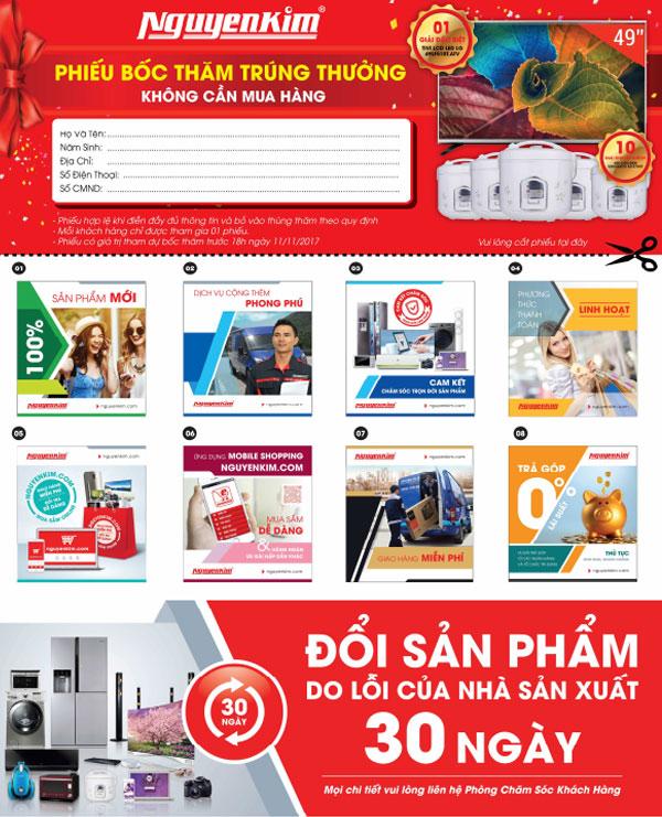 Cắt ngay phiếu bốc thăm trúng thưởng trên tờ rơi của Nguyễn Kim EaKar xem thần may mắn có đến với quý khách không nhé!