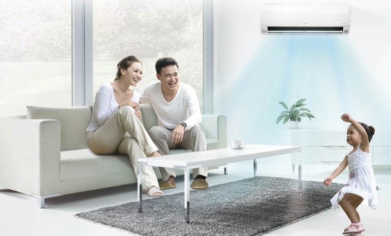 Máy lạnh LG V10ENP có thiết kế hiện đại, tông trắng dễ dàng phù hợp với nhiều không gian