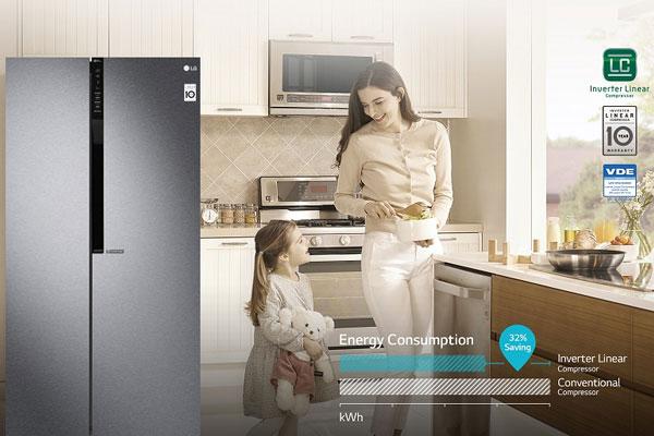 Tủ lạnh LG 613 lít GR-B247JDS cao cấp trang bị máy nén tuyến tính biến tần độc đáo, nâng cao hiệu suất làm lạnh
