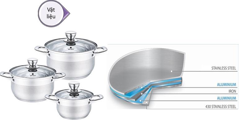 Đáy bộ nồi nấu ăn Elmichđược cấu tạo từ 5 lớp