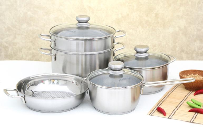Fivestar Belly FS08C bao gồm 5 nồi kích thước khác nhau cho bạn dễ dàng nấu nướng tùy mục đích, số lượng
