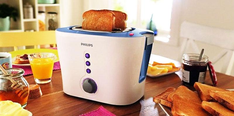 Lò nướng bánh mì Philips nổi bật với khả năng hâm nóng lại bánh đông lạnh nhanh chóng