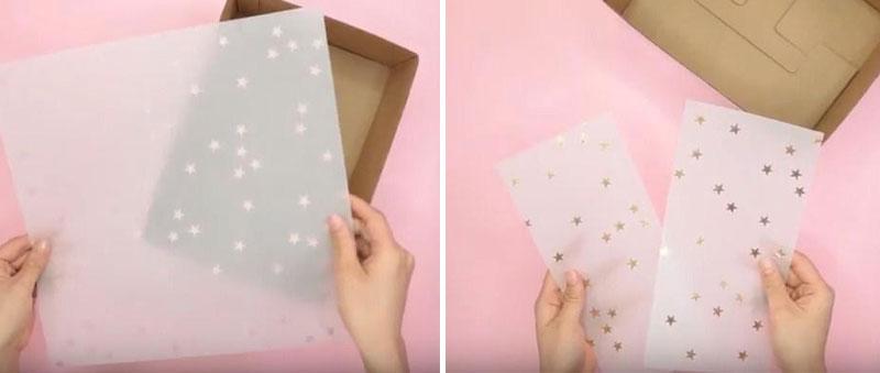 Cắt giấy cho vừa khít với hộp