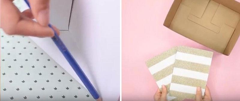 Dùng một tấm bìa cứng trang trí khác ướm lên mặt đáy, các mặt còn lại của thành hộp rồi dùng bút chì đánh dấu đường cắt như bước 1.