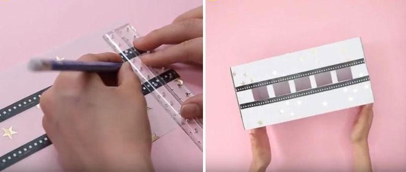 Khoét khoảng 4-5 ô vuông nhỏ trên thành hộp như hình để làm chỗ nhét dây sạc