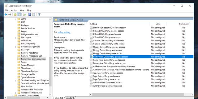"""Bước 3: Nhìn sang ô bên phải, tìm và nhấp đôi chuột vào tùy chọn """"Removable Disks: Deny Execute Access"""