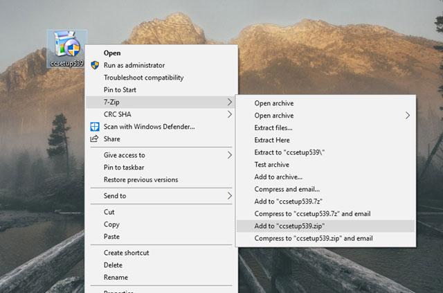 Sao chép nó vào Desktop, sau đó sử dụng 7-Zip hay Winrar để nén tập tin đó thành định dạng 7z, ZIP hay RAR