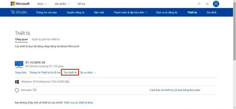"""Bước 9: Trong danh sách các thiết bị, bạn chọn """"Tìm thiết bị"""" để định vị laptop của mình."""