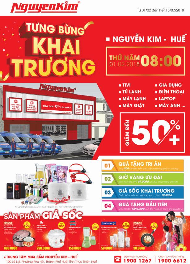 TTMS Nguyễn Kim tại Huế triển khai chương trình khuyến mãi mua hàng giá sốc đầy hấp dẫn nhân dịp khai trương