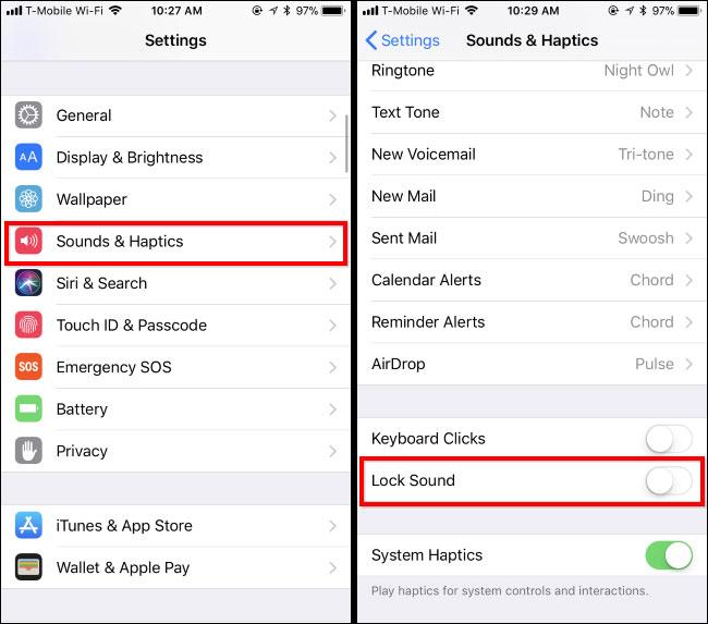 Bạn vào phần cài đặt trên iPhone hoặc iPad, chọn Lock Sounds để tắt âm thanh khóa màn hình