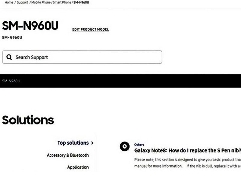 Mã nội bộ của điện thoại xuất hiện trên trang web của Samsung